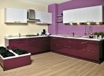 Проект на кухня с МДФ гланц в лилаво и бяло