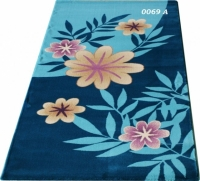 Машинен гладък килим в синьо с флорални мотиви