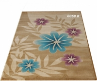 Машинен гладък килим в кафяво с флорални мотиви