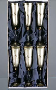 Комплект кристални чаши за вино сребро-008- 6 броя