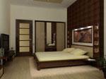Спалня по поръчка от дърво с крачета и тапицирана табла